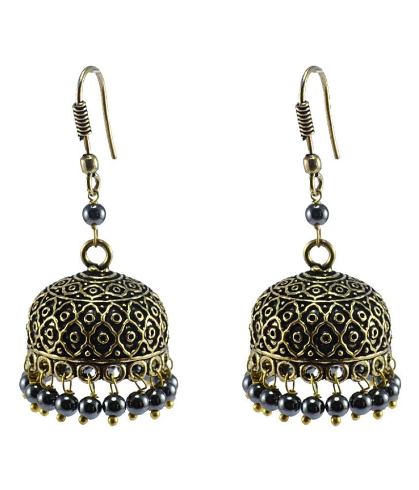 Silvesto India Black Jhumki Earrings