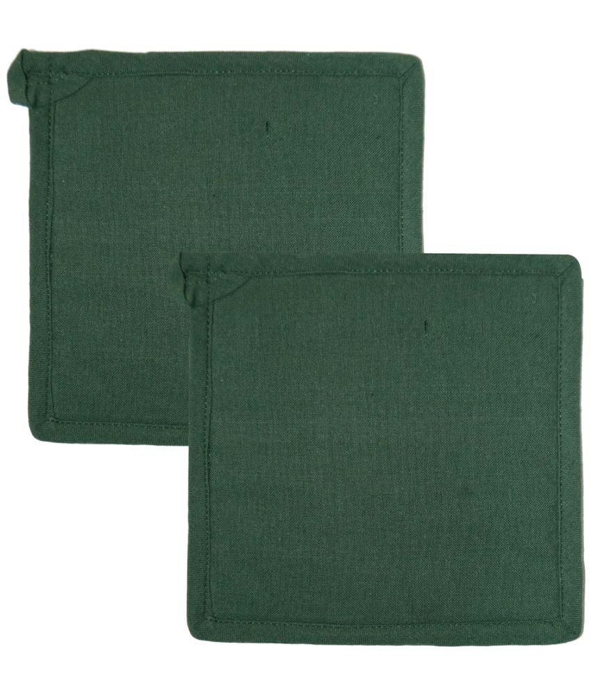 Ocean Collection Green Color Square 100% Cotton 2 Pot Holder