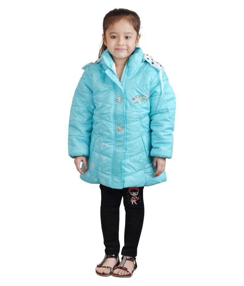 Crazeis Blue Full Sleeves Nylon Jacket For Girls