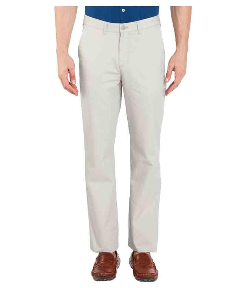 Parx Grey Regular Flat Trouser