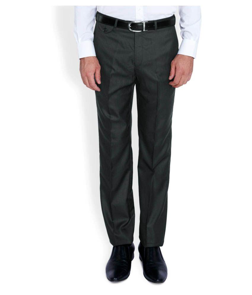 Park Avenue Grey Regular Flat Trouser