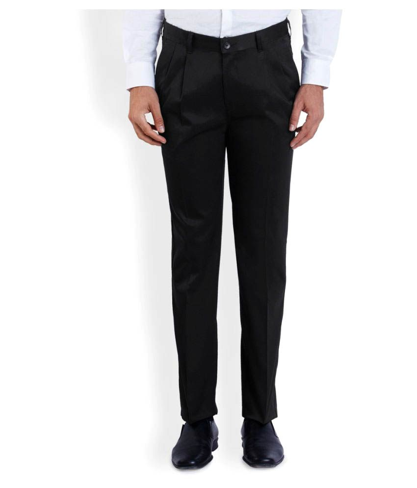 Parx Black Regular Flat Trouser
