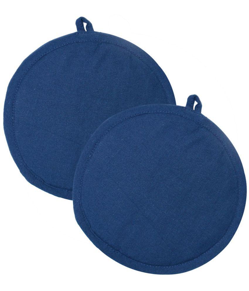 Plain N.Blue  Color Round 100% Cotton 2 Pot Holder