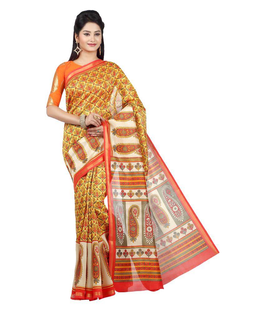 Jashn Yellow Art Silk Saree