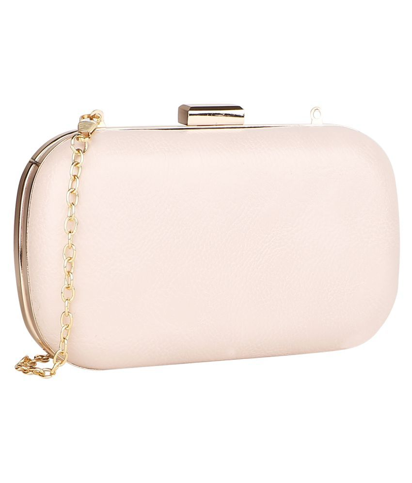 Lino Perros Beige Faux Leather Box Clutch
