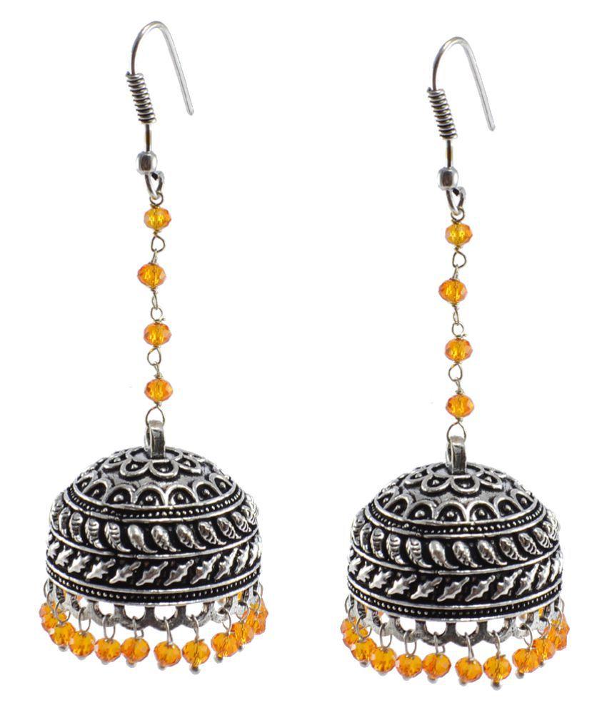 Silvesto India Orange Silver Plated Alloy Jhmki