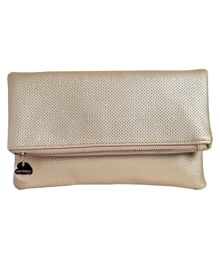 Lino Perros Gold Faux Leather Box Clutch