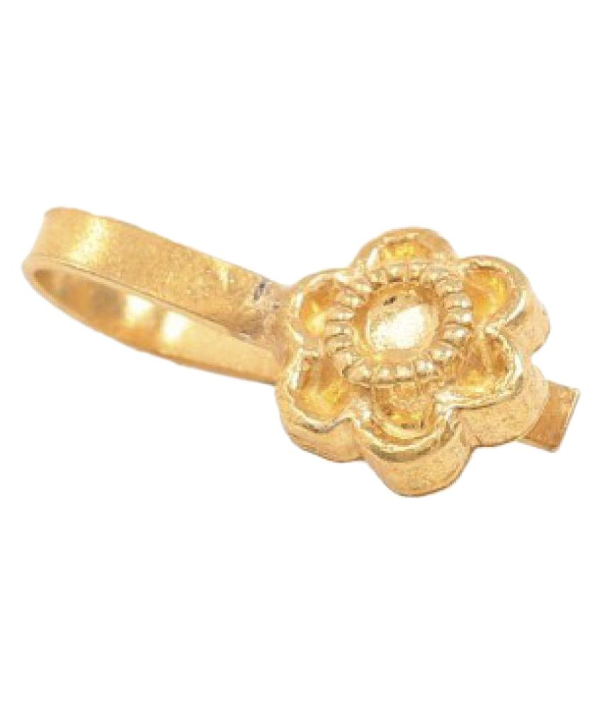 Silvermerc Designs Golden Flower Shape Nose Pin