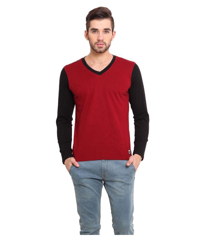 Western Vivid Maroon V-Neck T-Shirt