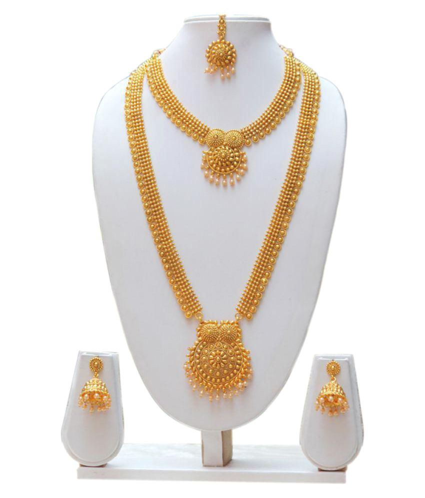 low prices golden amazon jewellery for india gold store buy in sets plated traditional at necklace dp online women set reeva zinc