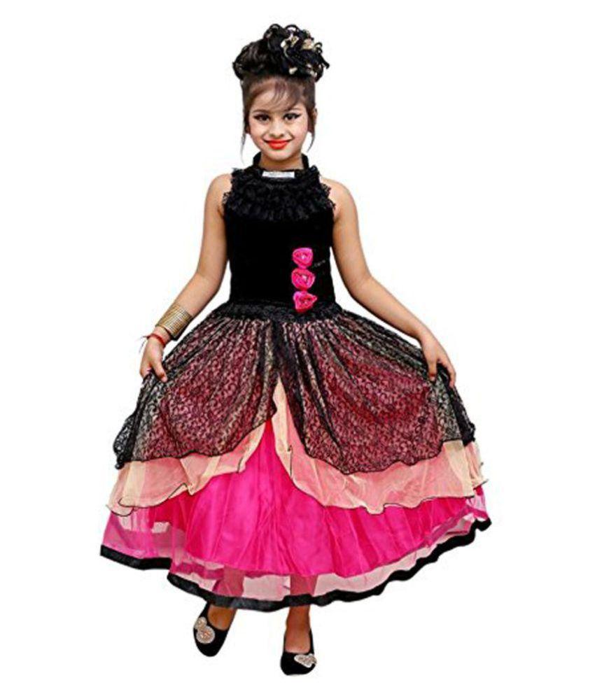 7e62760c8 Ad   Av Designer Partywear Comfortable Black Velvet Frock - Buy Ad ...
