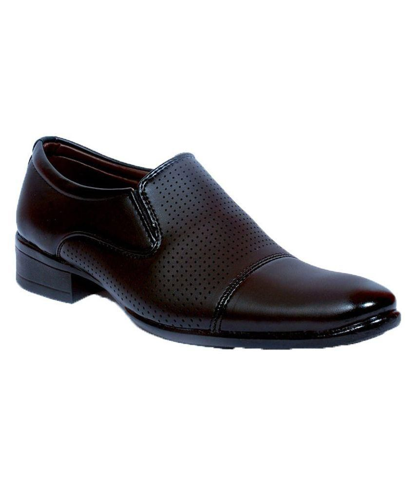 Aadi Slip On Artificial Leather Formal Shoes Black