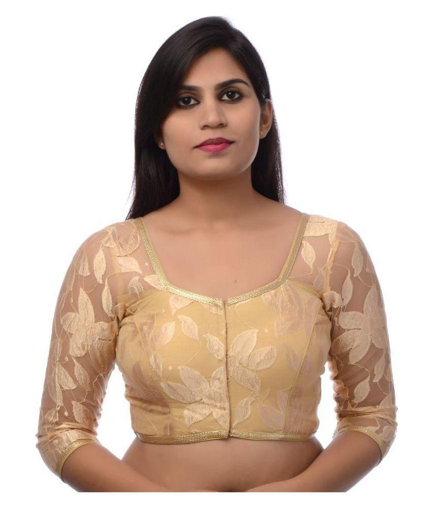 Atulya Designer Blouse Beige Round Shape With Dori Blouse