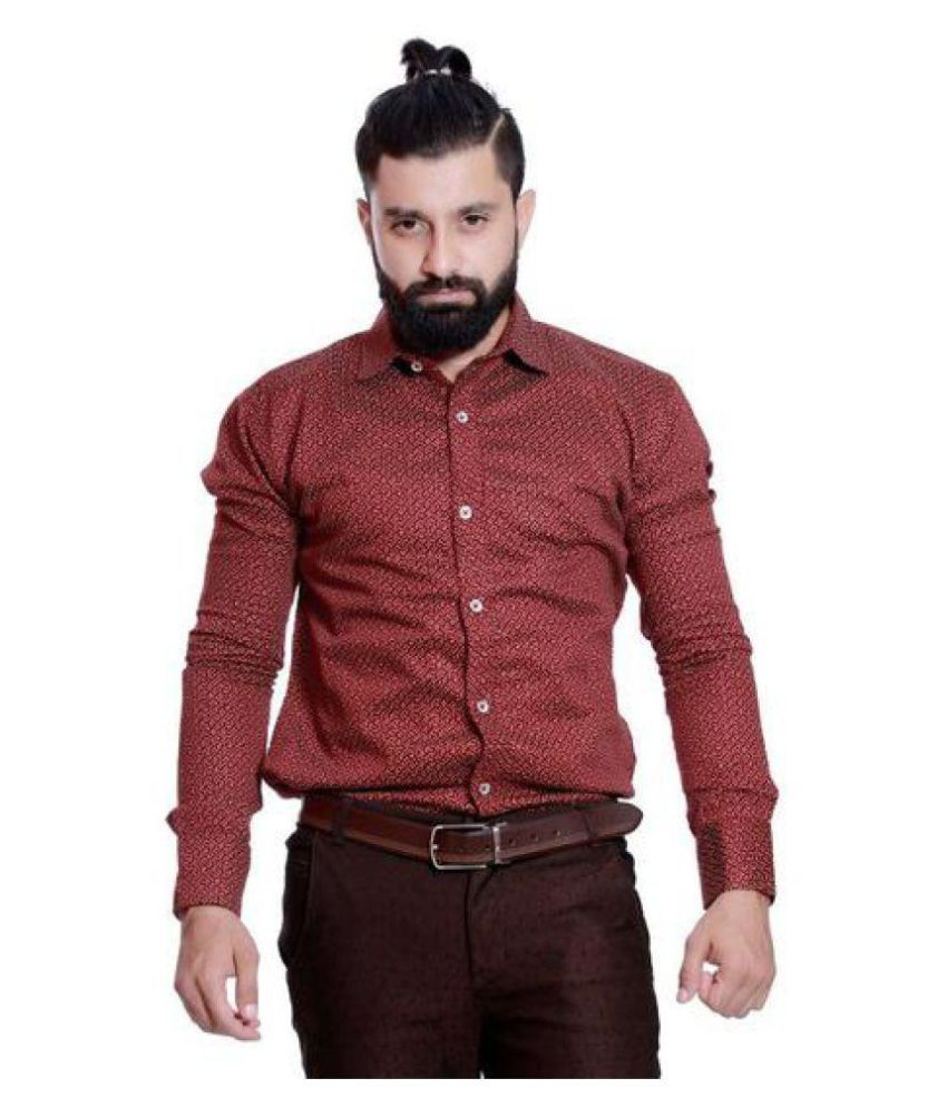 Rellin Maroon Partywear Regular Fit Shirt