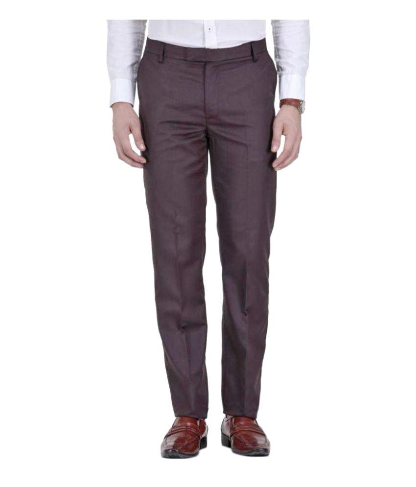 Febulous Navy Blue Slim Flat Trouser