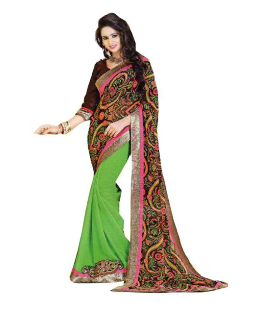 Queen Trends Green Georgette Saree