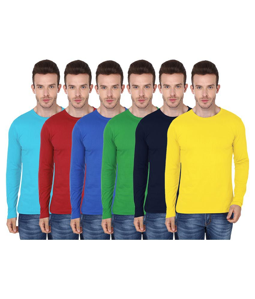 99tshirts Multi Round T-Shirt Pack of 6