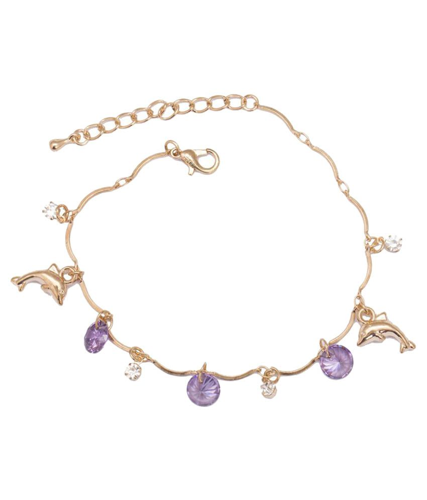 Glitters Online Golden Anklets - 1 Pair