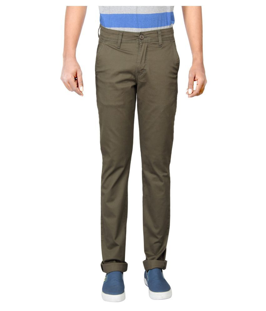 Pepe Jeans Olive Green Slim Flat Chinos