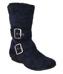 Bruno Manetti Blue Knee Length Slouch Boots