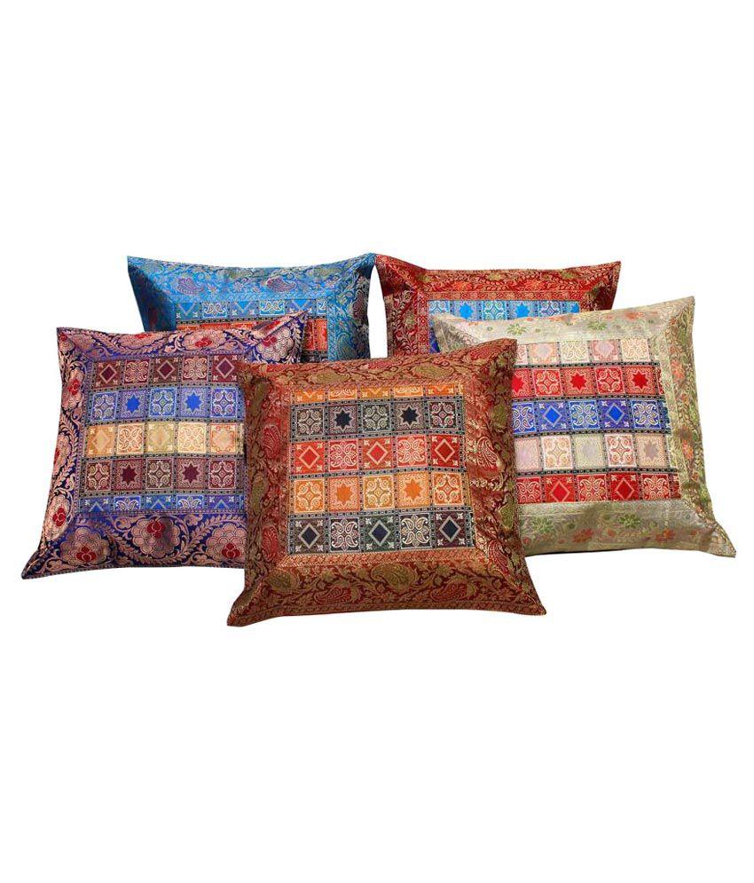 Gurukripa Shopee Set of 5 Silk Cushion Covers
