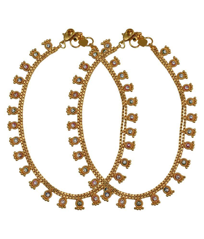 Taj Pearl Golden Alloy Designer Anklets
