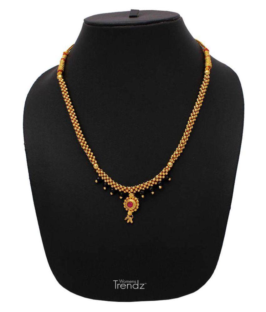 Womens Trendz Half Jhalar Black Crystal Thushi 24K Gold Plated Alloy Mangalsutra