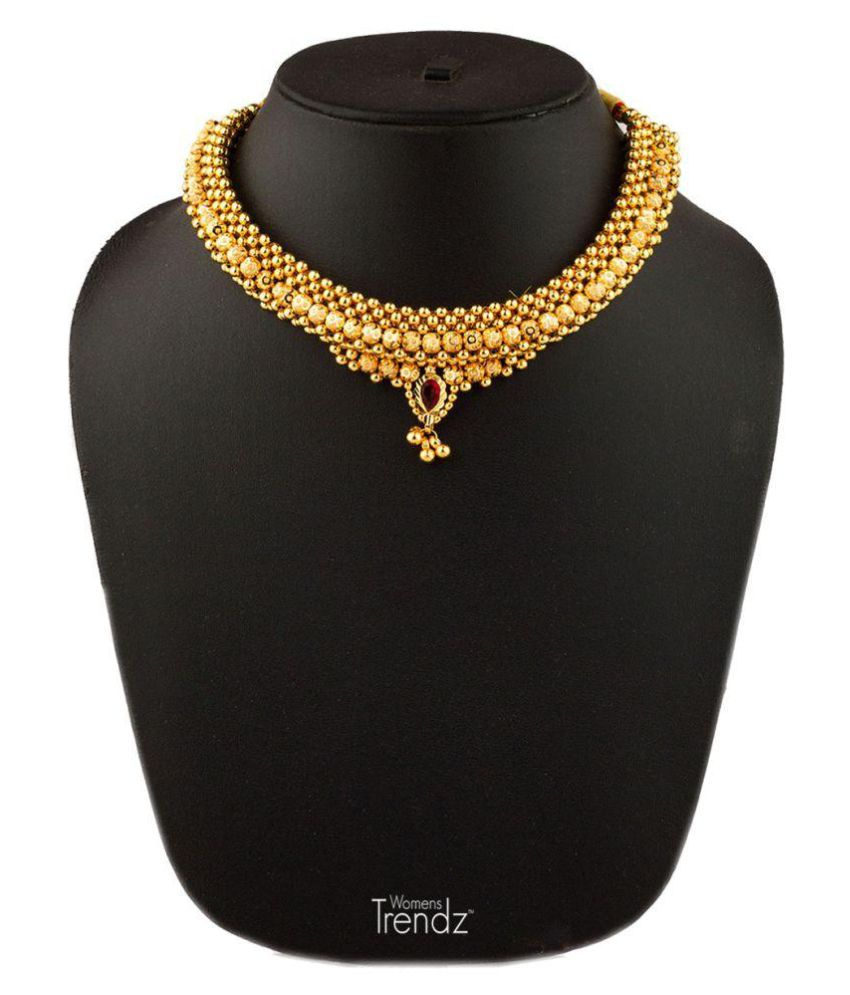 Womens Trendz Fancy Broad Thushi 24k Gold Plated Alloy Necklace