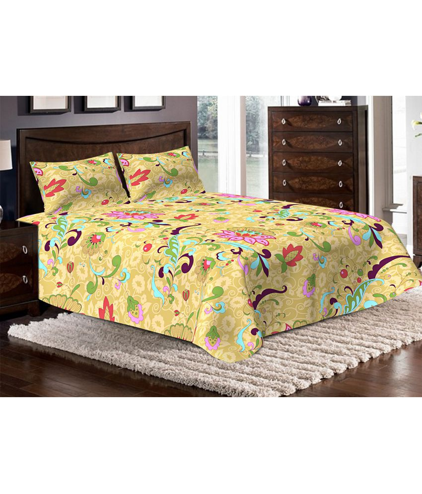 Bella Casa Double Poly Cotton Yellow Fl Bed Sheet Online At Low Price In India Snapdeal