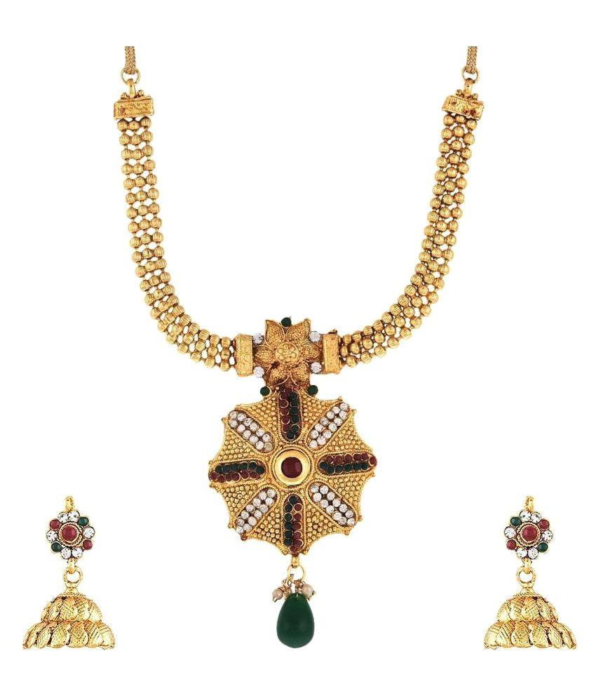 Schapes Enterprises American Diamonds Stone Necklace Set
