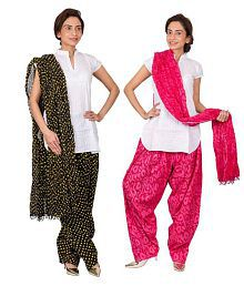 Womens Cottage Cotton Pack Of 2 Semi Patiala Salwars And Pack Of 2 Dupattas