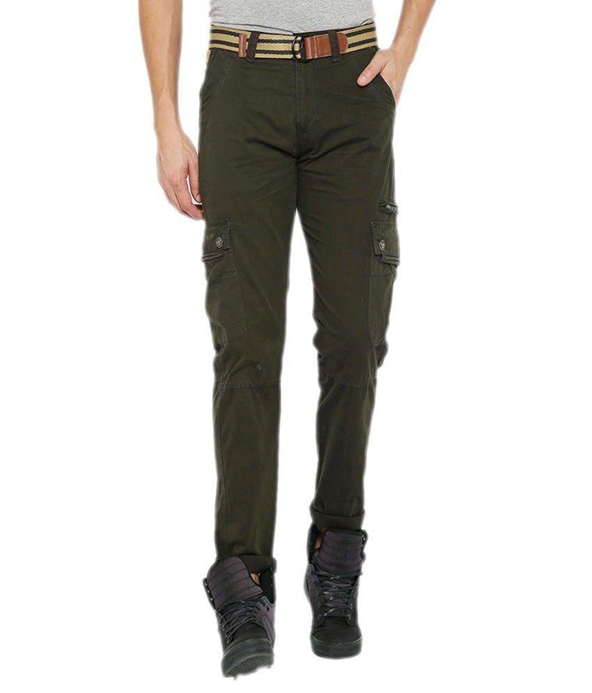 Sports 52 Wear Olive Green Regular Flat Trouser