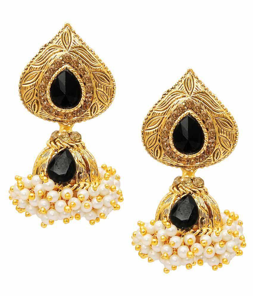 9Blings Gold Plated Cubic Zirconia & Pearl Jumki Earrings