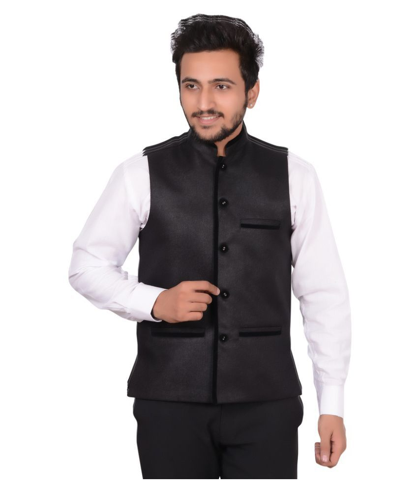 GDS Black Solid Party Waistcoats