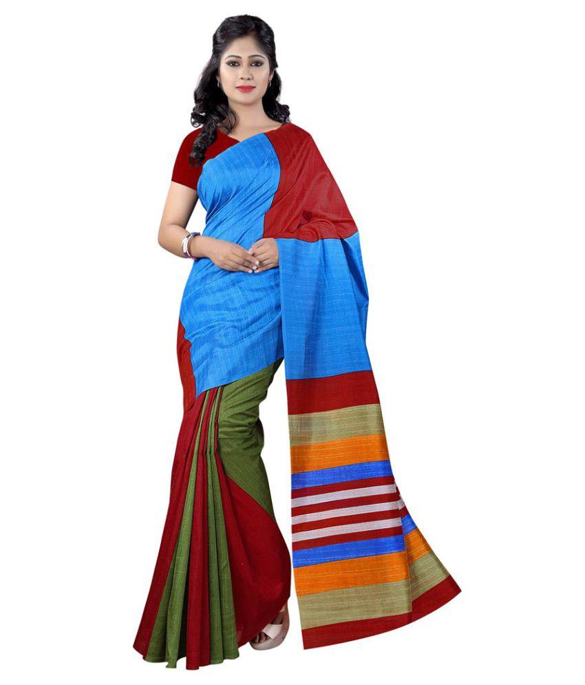 Apple Creation Multicoloured Bhagalpuri Silk Saree