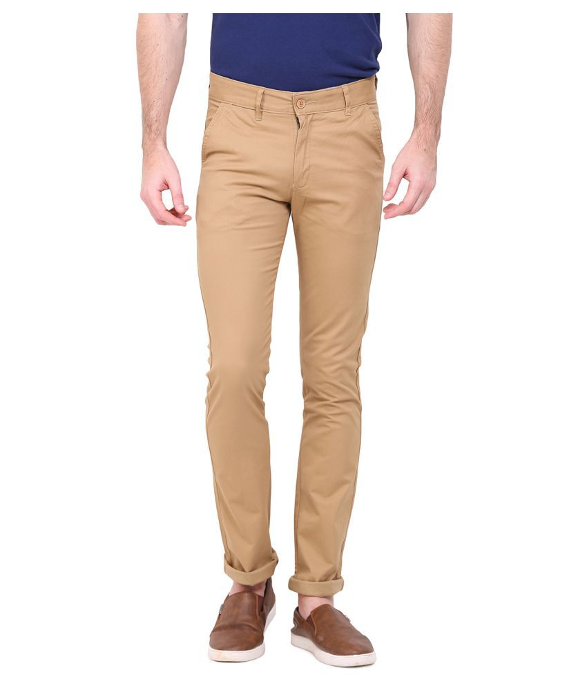 Duke Beige Slim Flat Trousers