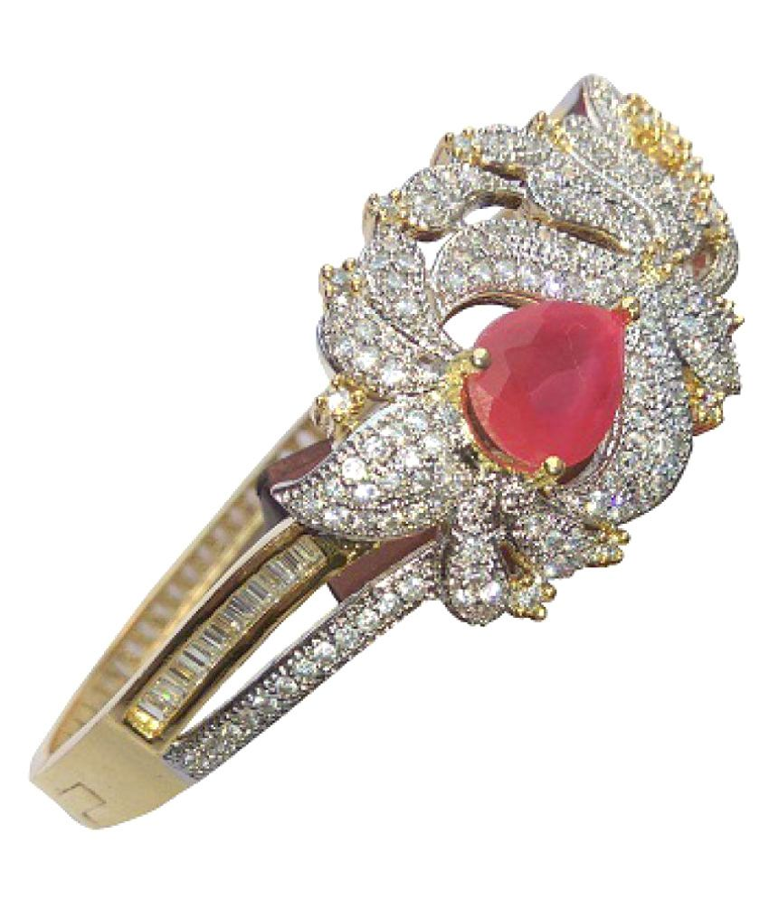 Ananya's Treasure American Diamond Bracelet With Ruby Stone