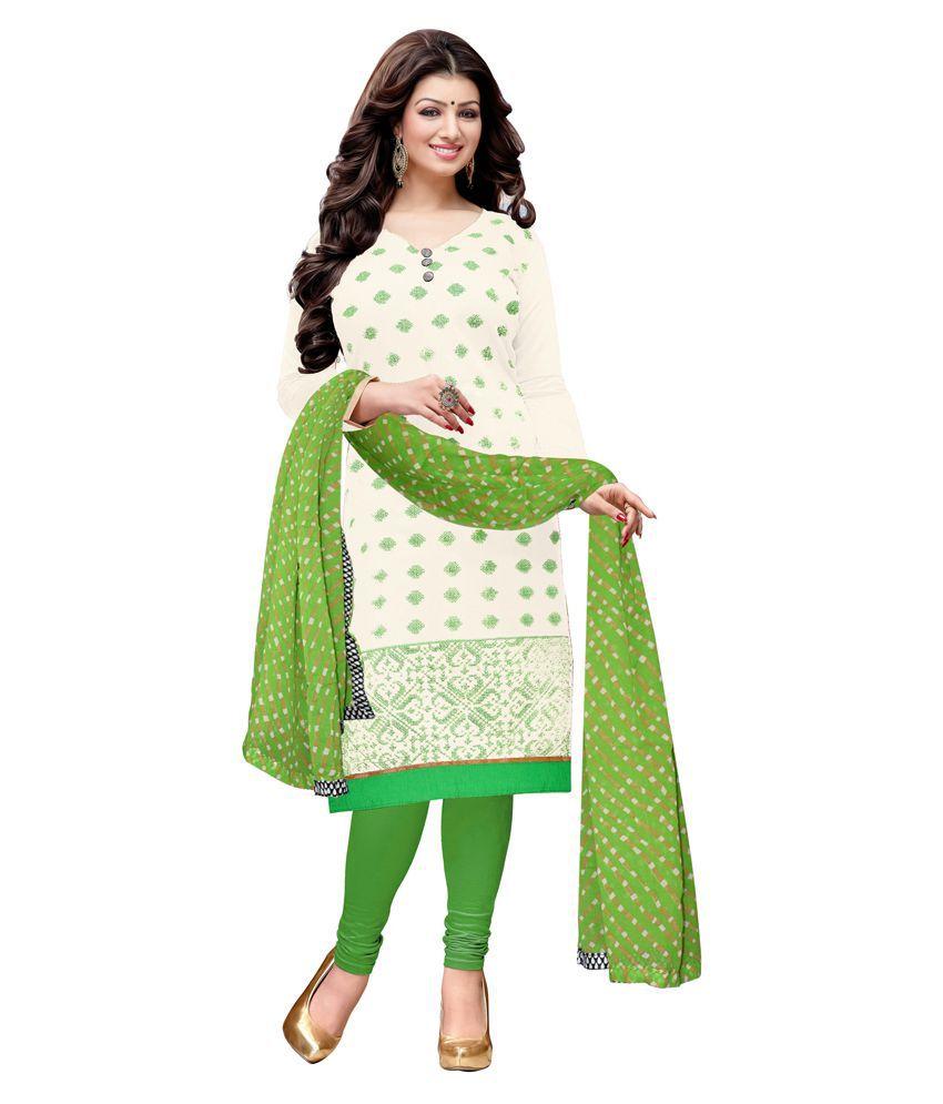 Jiya Off White Chanderi Dress Material
