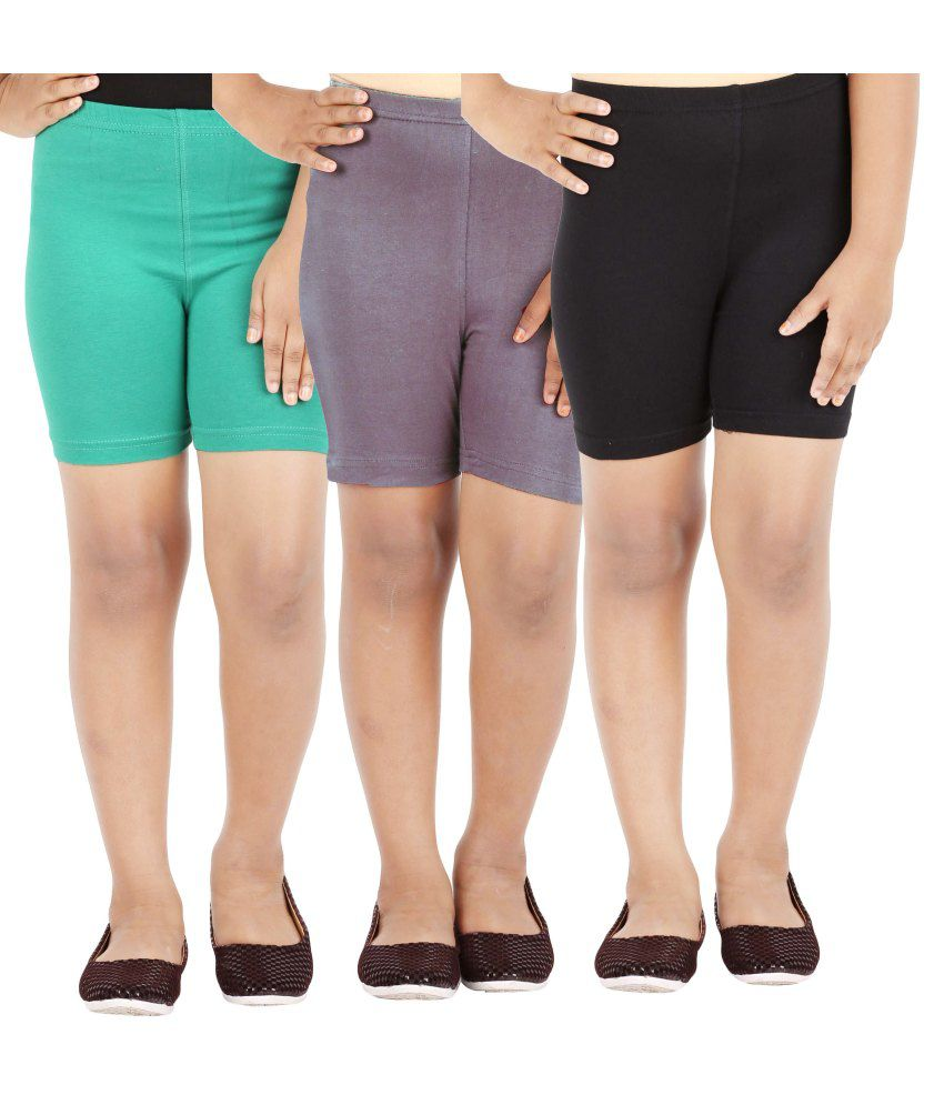 Lula Multicolored Cotton Spandex Cycling Shorts- Pack Of 3