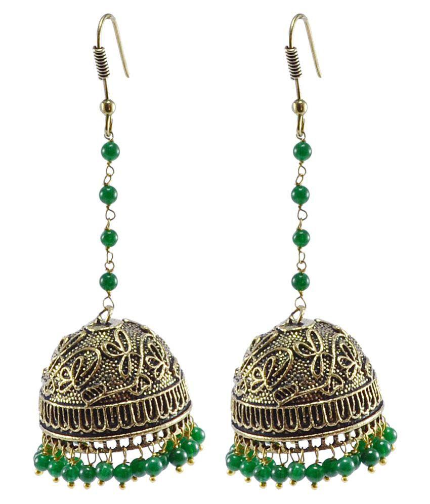 Silvesto India Green Brass Jhumki Earring