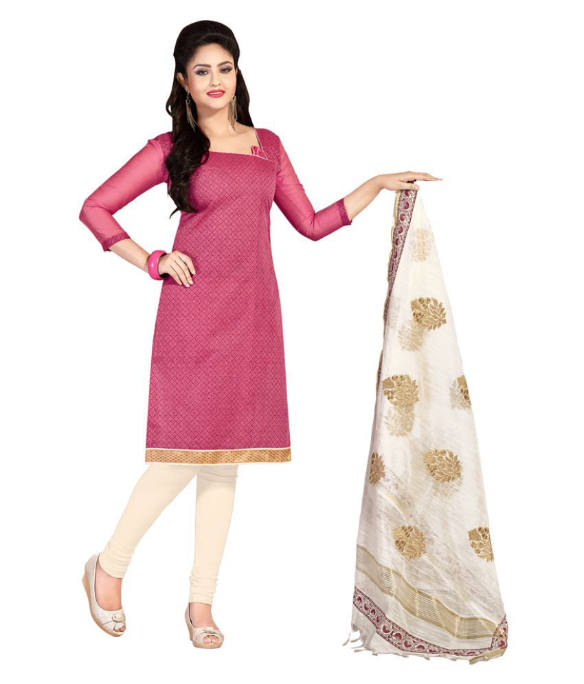 Khoobee Pink Chanderi Dress Material