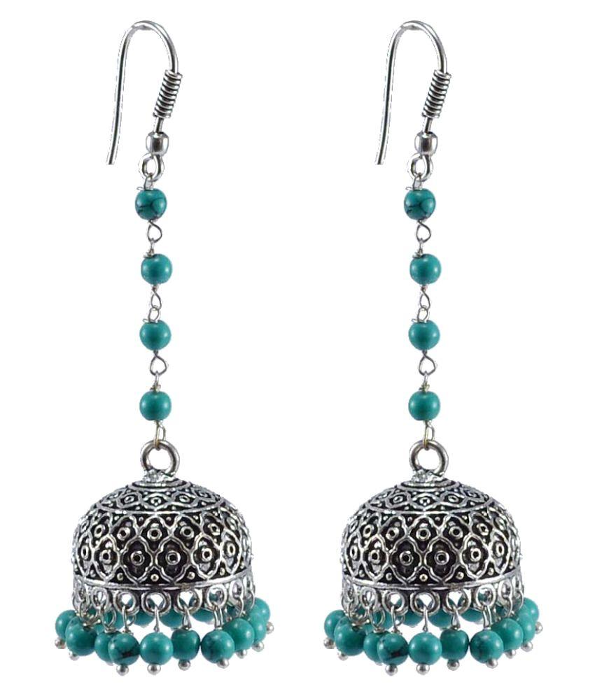 Silvesto India Multicolour Jhumkis Earring