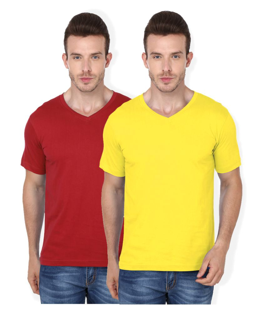 99Tshirts Multi V-Neck T-Shirt Pack of 2