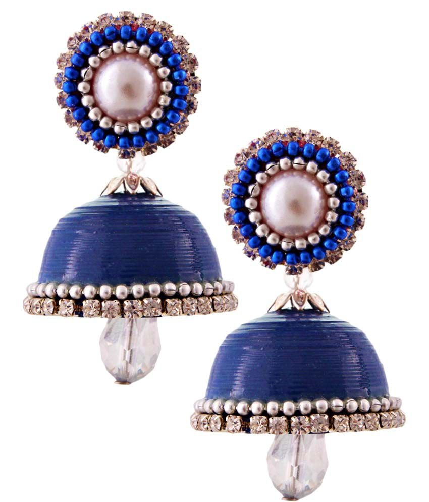 Vivan Creation Blue Handcrafted Jhumki Earrings