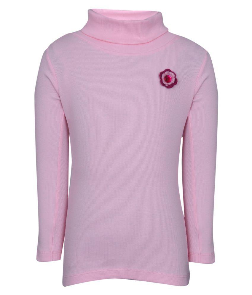 Bio Kid Pink Solid Full Sleeve Solid Girl's Sweatshirt