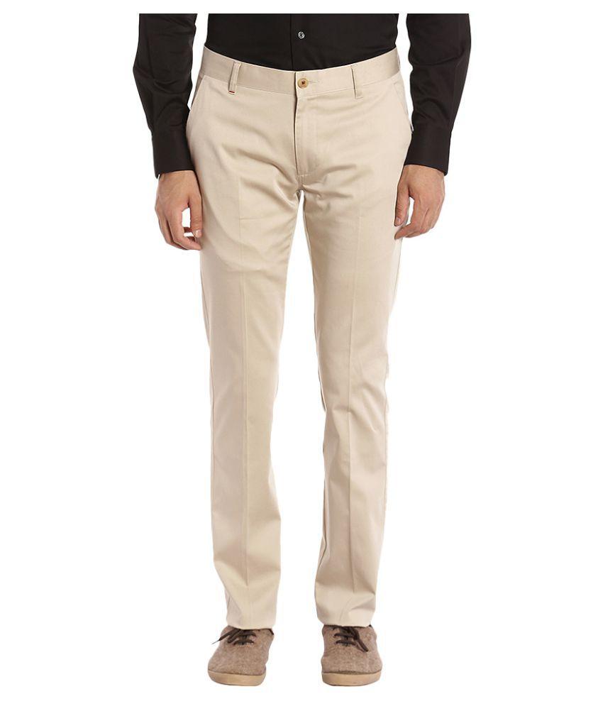 Raymond Beige Slim Flat Trousers
