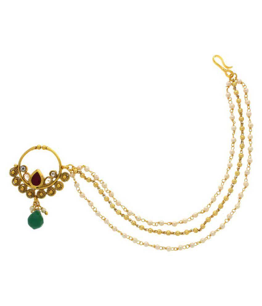Anuradha Art Golden Colour Nath For Women