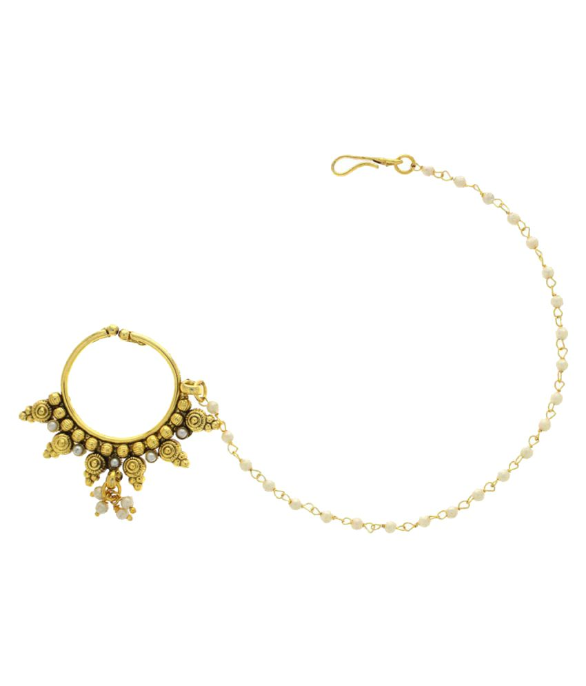 Anuradha Art Golden Finish Designer Classy Stylish Kundan Work Dulhan Nose Ring