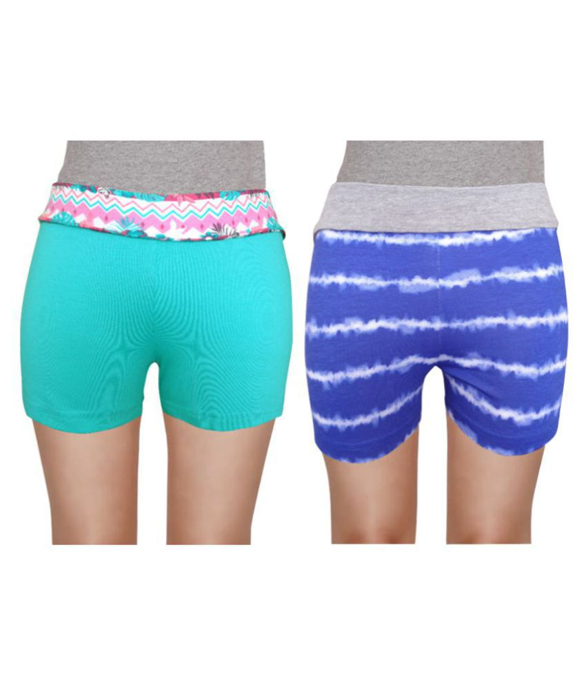 Girl Confidential Multicolour Cotton Shorts Pack of 2