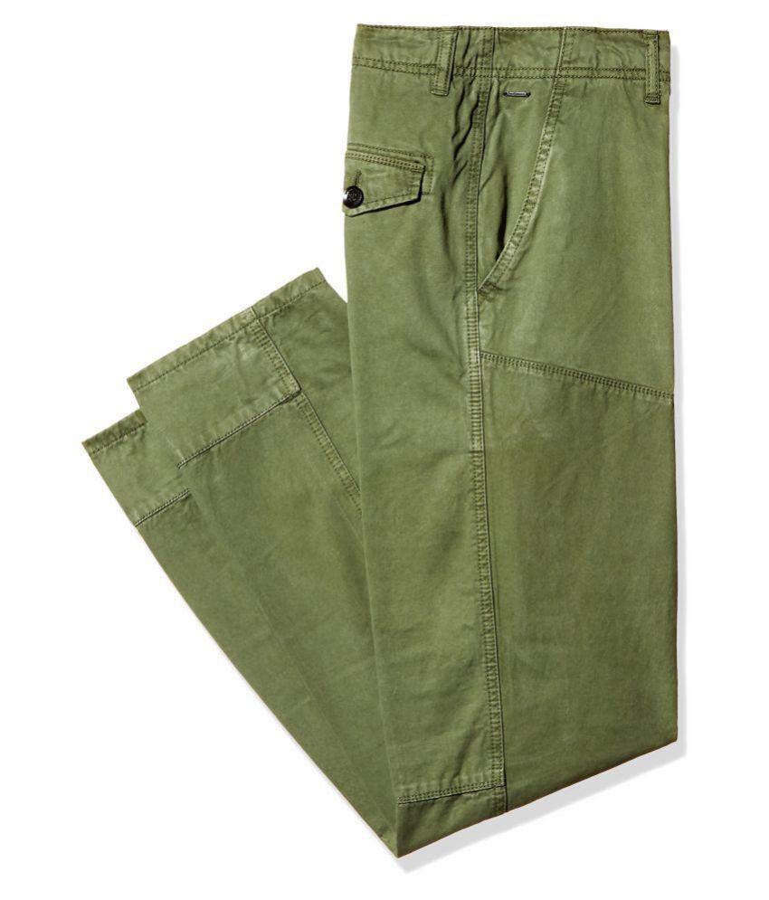 Breakbounce Green Slim Flat Chinos